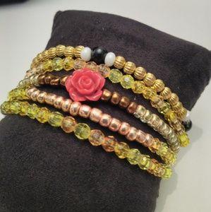 🔥2/$10🔥Red Rose Yellow Bracelets Bundle